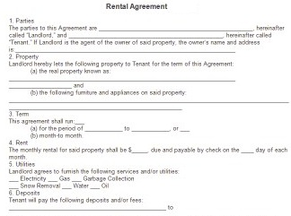 Rental form specifies