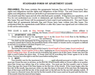 Lease Agreement Forms Sample