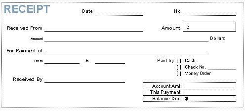 Receipt Forms – Payment Receipt Form