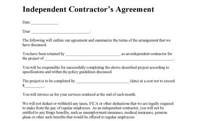 Contractor Agreement Free Printable Documents