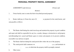 Personal Property Rental Agreement Lease Agreement